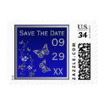Blue Silver Butterfly Floral Save The Date Postage