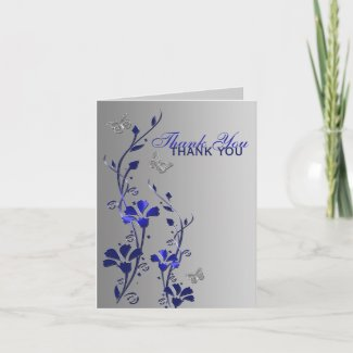 Blue Silver Butterfly Floral Thank You Note Card card
