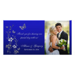 Blue, Silver Butterfly Floral Wedding Photo Card
