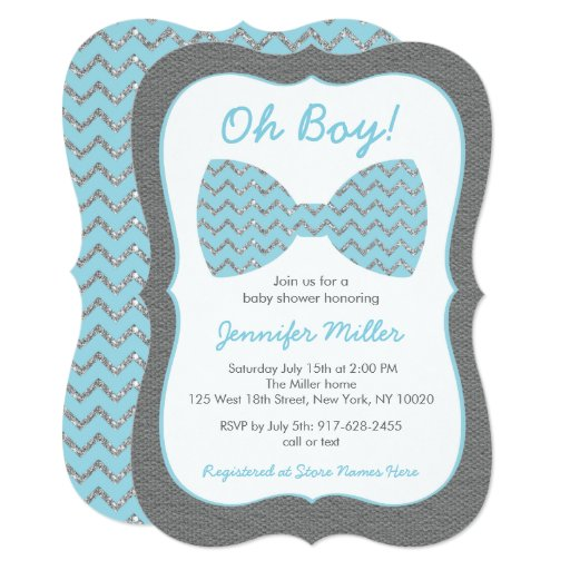 Blue & Silver Chevron Bow Tie Baby Shower Card