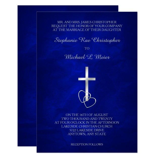 Blue Silver Christian Cross Wedding Invitation Zazzlecom