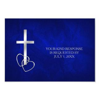 Blue Silver Christian Cross Wedding RSVP Card