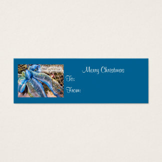 Blue & Silver Christmas Bow, Mesh Garland,Gift Tag