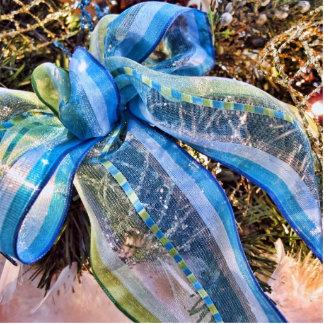 Blue & Silver Christmas Bow w/ Gold Mesh Garland Cutout