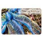 Blue & Silver Christmas Bow w/ Gold Mesh Garland Vinyl Magnets