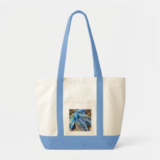 Blue & Silver Christmas Bow w/ Gold Mesh Garland Tote Bag