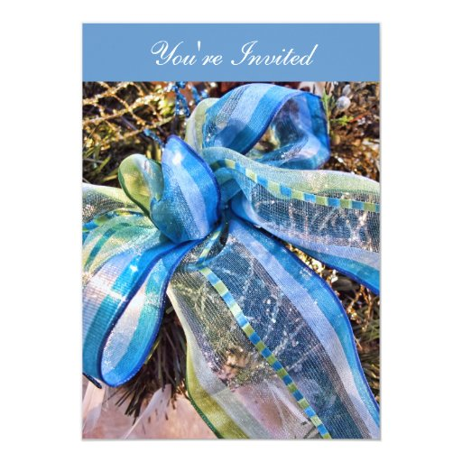 Blue & Silver Christmas Bow w/ Wired Mesh Garland Invitation