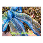 Blue & Silver Christmas Bow w/ Wired Mesh Garland Post Card