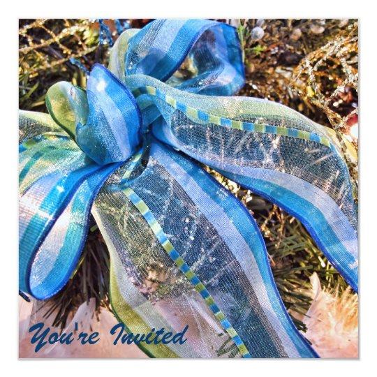 Blue & Silver Christmas Bows w Gold Mesh Garland Card
