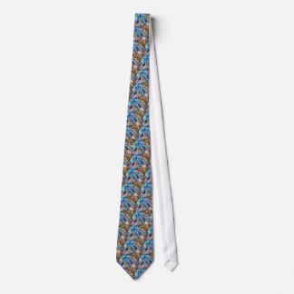 Blue & Silver Christmas Bows w Gold Mesh Garland Neck Tie