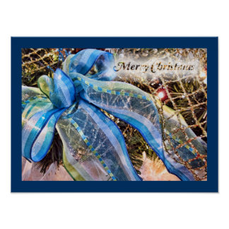 Blue & Silver Christmas Bows w Gold Mesh Garland Poster
