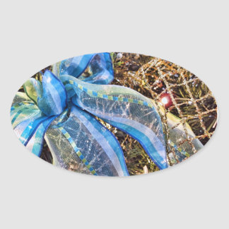 Blue & Silver Christmas Bows w Gold Mesh Garland Oval Sticker