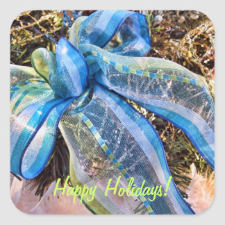 Blue & Silver Christmas Bows w Gold Mesh Garland Square Stickers