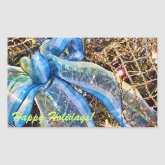 Blue & Silver Christmas Bows w Gold Mesh Garland Rectangle Stickers