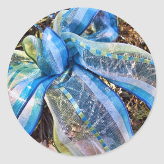 Blue & Silver Christmas Bows w Gold Mesh Garland Round Stickers