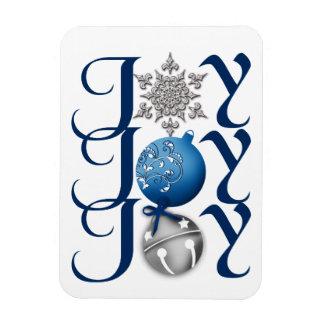 Blue Silver Christmas Joy Premium Magnet
