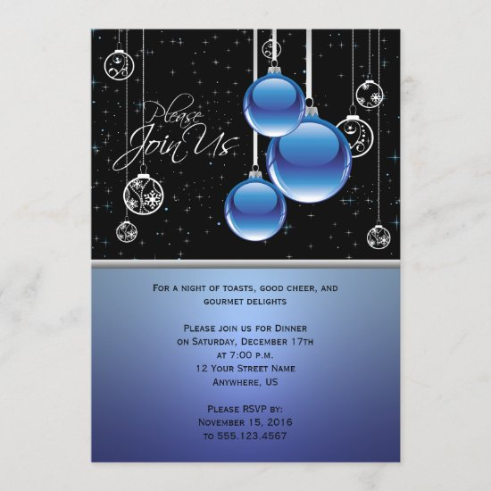 Blue Silver Christmas Ornaments on Black Party Invitation