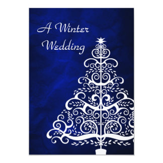Blue Silver Christmas Tree Winter Wedding Invitation