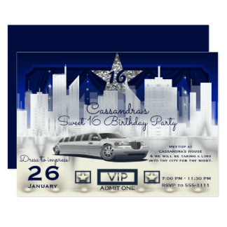 Blue Silver City Night Lights Limo Birthday Party Card
