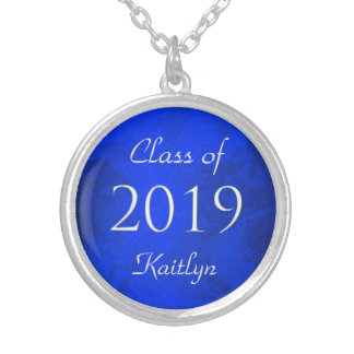Blue Silver Class of 2019 Personalized Round Pendant Necklace