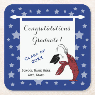 Blue Silver Crawfish / Lobster Stars Graduation Square Paper Coaster