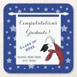 Blue Silver Crawfish / Lobster Stars Graduation Square Paper Coaster