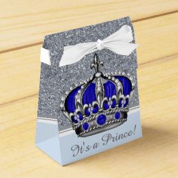 Blue Silver Crown Prince Boy Baby Shower Favor Box