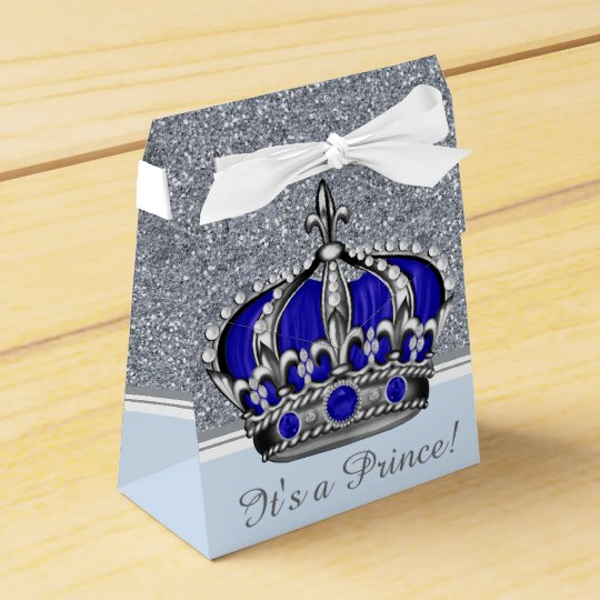 Prince Baby Shower Favors: Blue Silver Crown Prince Boy Baby Shower Favor Box
