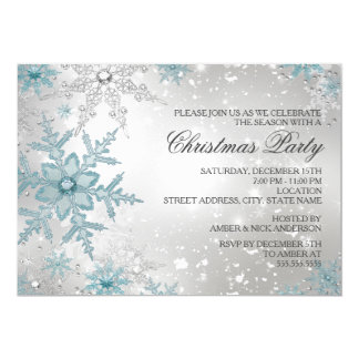 Blue & Silver Crystal Snowflake Christmas Party 5x7 Paper Invitation Card