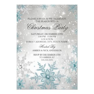 Blue & Silver Crystal Snowflake Christmas Party