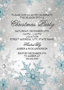 snowflake party invitations zazzle