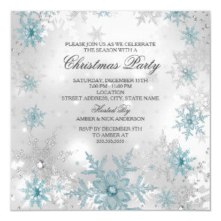 Blue Silver Crystal Snowflake Christmas Party SQ Card at Zazzle