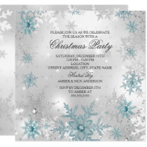 Blue Silver Crystal Snowflake Christmas Party SQ Invitation