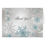 Blue Silver Crystal Snowflake Thank You Card