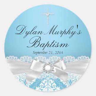 Blue Silver Damask & Bow Baptism Sticker