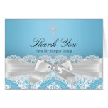 Blue Silver Damask & Bow Baptism Thank You Card