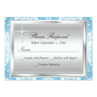 Blue Silver Damask & Cross Baptism RSVP Reply Card