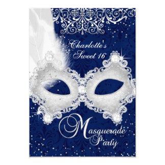 Blue Silver Damask Mask Masquerade Sweet 16 Invite
