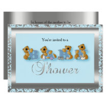 Blue & Silver Damask with Teddy Bear | Baby Shower Card