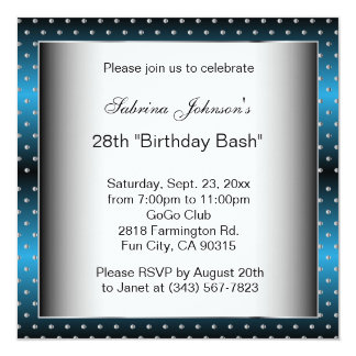 Blue & Silver Dots Party Celebration | DIY Text Card