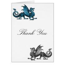 Blue Silver Dragon Thank You Card