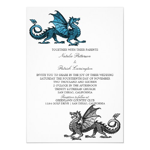 Blue Silver Dragon Wedding Invitation