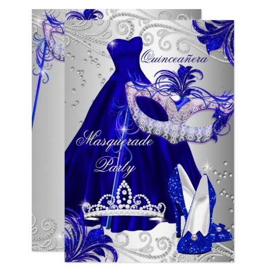 Blue Silver Dress masquerade Quinceanera Invite Zazzlecom