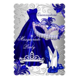 Blue & Silver Dress masquerade Quinceanera Invite