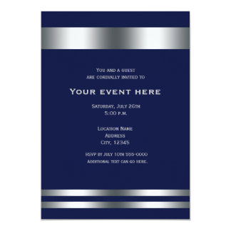 Blue Silver Elegant Dinner Party Event Invitation