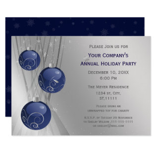 Blue Silver Festive Corporate Holiday Party Invite at Zazzle