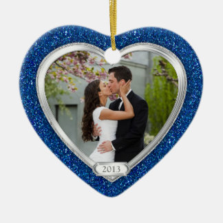 Blue Silver First Christmas Together Photo Xmas Double-Sided Heart Ceramic Christmas Ornament