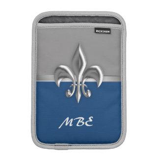 Blue Silver Fleur de Lis Sleeve For iPad Mini