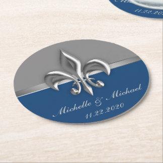 Blue Silver Fleur de Lis Round Paper Coaster