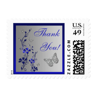 Blue, Silver Floral, Butterflies Thank You Postage